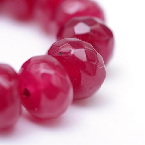 15 achat perlas piedras preciosas natural 8mm Ruby rojo rondell encararán g256