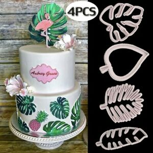 4pcs-set-Tropical-Leaves-Fondant-Cake-Mold-Embossed-Candy-Biscuits-Cookie-Cutter