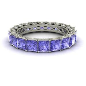 4-40-Ct-Genuine-Diamond-Tanzanite-Wedding-Bands-14K-White-Gold-Ring-Size-8-9