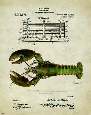 Fresh Maine Lobster Trap Patent Poster Art Print 11 x 14 Antique Kitchen PAT208