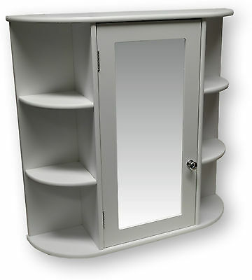 White Wooden Mirror Door Indoor Wall Mountable Bathroom Cabinet Shelf Cupboards