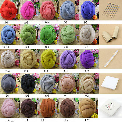 Wool Fibre Needle Felting+Felting Needles Starter Kits Mat Tools 1Set 25colors