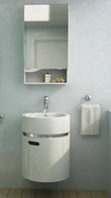 High Gloss Bathroom Vanity Sink Unit Wall Hang Furniture with Mirror Cabinet