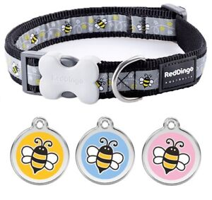 Red-Dingo-BUMBLE-BEE-Dog-Puppy-Collar-Engraved-ID-Tag-XS-LG-FREE-P-amp-P