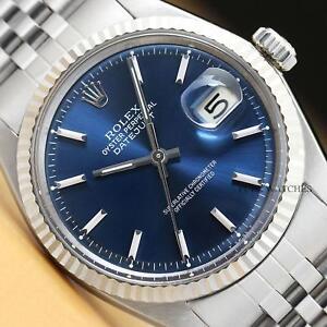 Rolex Hombre Datejust Esfera Azul 18k Oro Blanco Amp Reloj