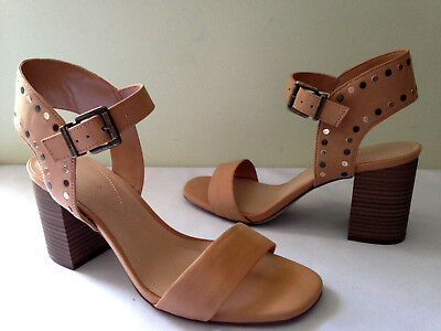 a87fd928815 NEW! MAX STUDIO Beige Studded Vegan Leather SIRENTY Heels Sexy Sandals 9 M  $118   eBay