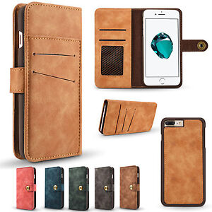 Genuine-Leather-Magnetic-Flip-Card-Removable-Wallet-Case-Cover-For-Various-Phone