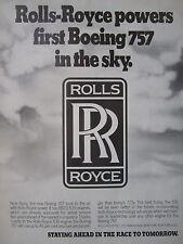 3/1982 PUB ROLLS-ROYCE RB211-535 AERO ENGINE BOEING 757 AIRLINER ORIGINAL AD