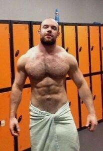 Shirtless Male Muscular Beach Hunk Hairy Chest Pecs Beefcake PHOTO 4X6 N336