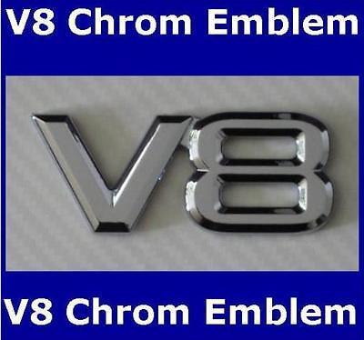 V8 Emblem Schriftzug mit selbstklebender Rückseite,  Chrom Emblem