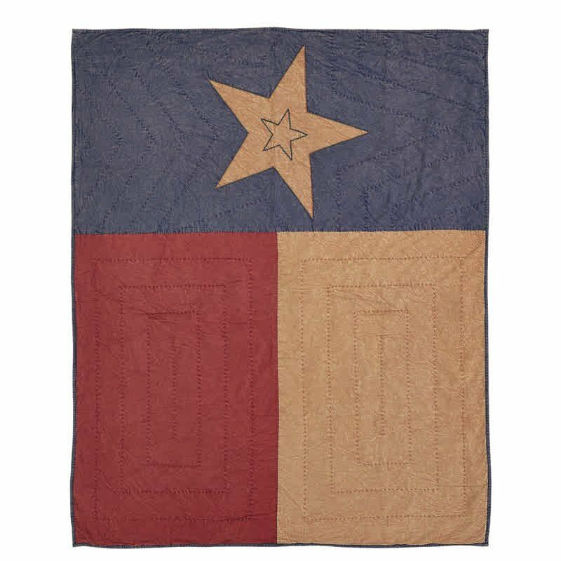 VHC CHEYENNE TEXAS FLAG QUILTED THROW BLANKET  KHAKI RED blueE FIVE POINT STAR