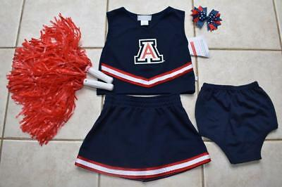 CHEERLEADER COSTUME HALLOWEEN OUTFIT TENNESSEE VOLUNTEERS POM POMS BOW SET 6 X