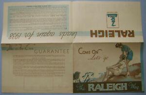 Raleigh Bicycle Range 1938 Original 8 page Cycling Sales Brochure 8 models shown
