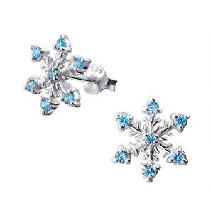 Women/'s Lovely Shiny Gold Xmas Snowflake Crystal Stud Earrings UK Free P/&P