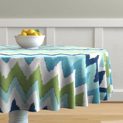 Round Tablecloth Summer Stripe Green Blue Chevron Watercolor Ikat Cotton Sateen