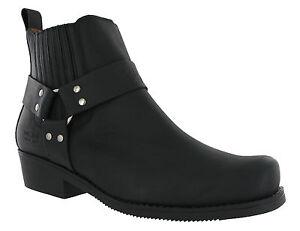 Johnny-Bulls-Cowboy-Oeste-Cuero-sin-Cierres-Unisex-Botines-UK3-12-Black4809