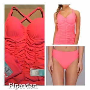 e90fd07283d57 NWT $194 SEAFOLLY 2 PC TANKINI SET US 6 DD CUP TOP & US 8 BOTTOM RED ...