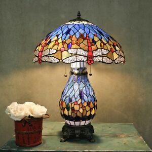 Tiffany Style Stained Glass Table Lamp Blue Dragonfly Desk