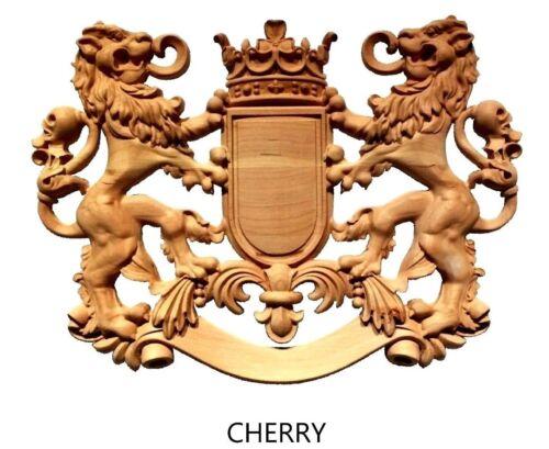 Hardwood Lion Crest Coat of Arms