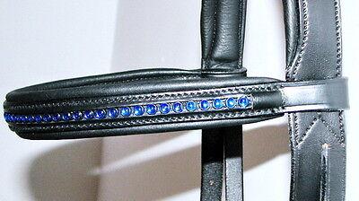 "FSS Rhinestone BLING Crystal BRIGHT COBALT BLUE German Padded Browband Cob 15"""