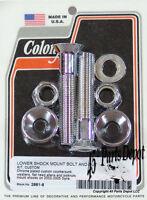 Harley 02-05 Dyna Custom Lower Shock Mount Bolt & Nut Kit Chrome Colony 2881-8