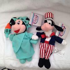 2 New Disney Store Liberty MInnie Uncle Sam Goofy Plush Bean Bag Toys