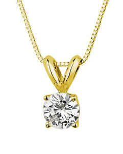 2 ct Real 14k Solid Yellow Gold Round Solitaire Pendant Necklace Box Chain