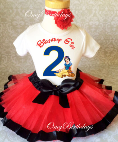 Snow White Princess 2nd Birthday Shirt Tutu Outfit Set Party girl