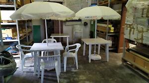 Ombrelloni Da Esterno Usati.Dettagli Su 3 Tavoli 3 Ombrelloni 15 Sedie Plastica Da Giardino Usati