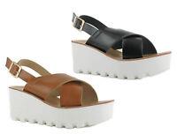 Ladies High Mid Heel Chunky Platform Sandals Womens Wedge Flatform Shoes Size