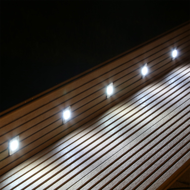 Beleuchtung Set 10 Einbau Bodenstrahler für Terrasse Garten Treppe Stufen außen