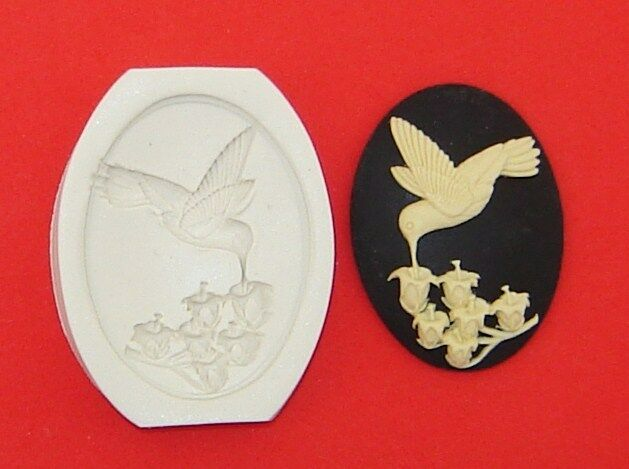Cameo HUMMINGBIRD & LILY of the VALLEY Polymer Clay Push Mold 40x30mm