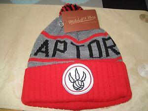 0ba01eab2a0817 MENS TORONTO RAPTORS Mitchell & Ness Winter BEANIE POM HAT RED/GRAY ...