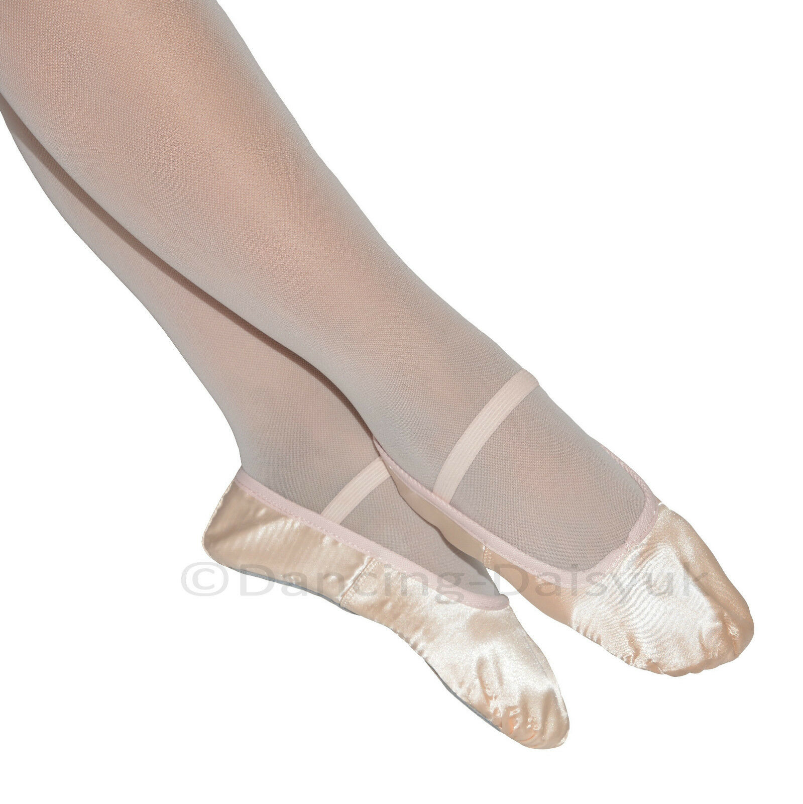 pink satin ballet shoes with sole pre sewn