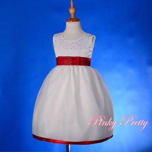 Ivory Burgundy Diamond Scoop Dress Wedding Flower Girl Bridesmaid Age 2-3y FG208