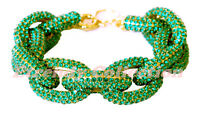 Clearance - Chunky Pave Emerald Link Chain Green Bracelet W/1,500+ Crystals