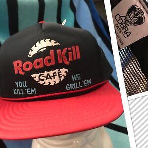 NOS-Vtg-ROAD-KILL-CAFE-stupid-Novelty-Trucker-Mesh-foam-Snapback-Hat-DEADSTOCK