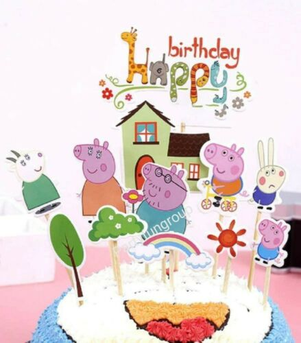 12pcs Peppa Pig Cake Topper Peppa Pig Birthday Party CupCake Decoration AU Stock