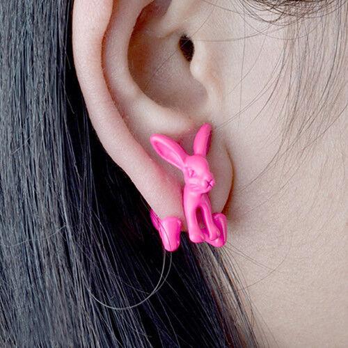 3d aretes conejo pendientes pendiente túnel arete joyas Bunny earcuff conejo