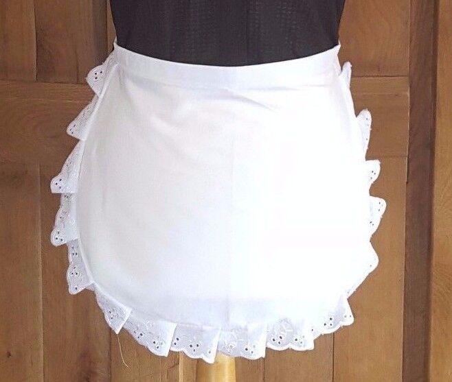 GIRLS Victorian / Edwardian WAIST White Maids Apron EMBROIDERY ANGLAISE TRIM