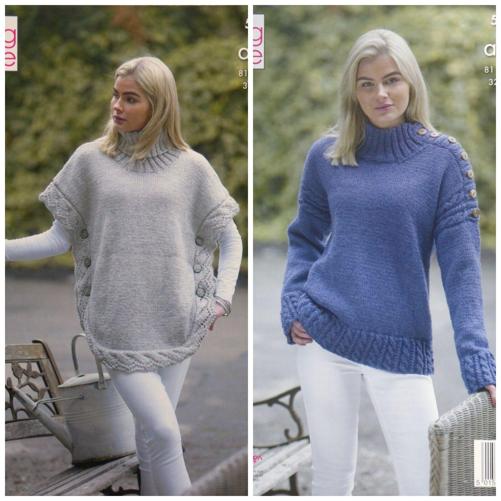 ae2e97cbc51e Womens Polo Neck Poncho   Sweater Ladies Knitting Pattern King Cole ...