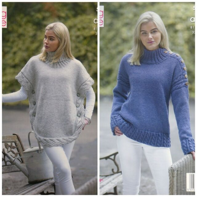 KNITTING PATTERN Ladies Lace Cable Poncho   Cable Jumper Aran King Cole 5154 2df1cbbdf