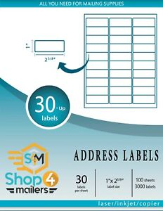 Shop4Mailers 30-Up White Shipping Labels 200 Sheets, 6000 Labels