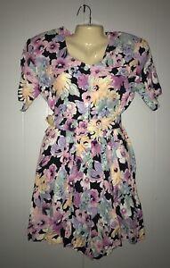 Vintage-1980s-Pleated-Dress-Shoulder-Pads-Wide-Belt-Size-Medium-By-Dawn-Joy