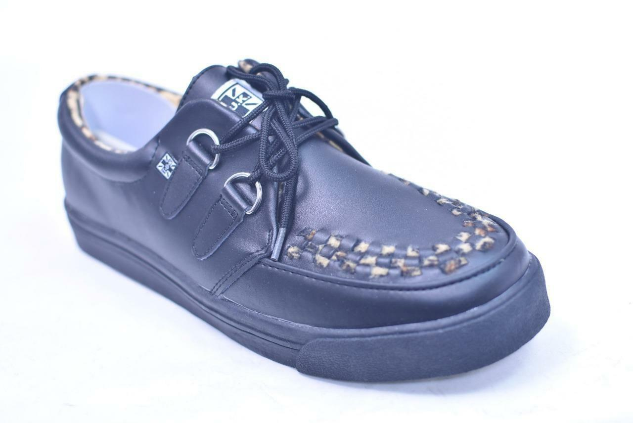TUK BLACK LEATHERLEOPARD CREEPER SNEAKERS # A8119 UNISEX 8 / 10 EUR 41 NOS PUNK