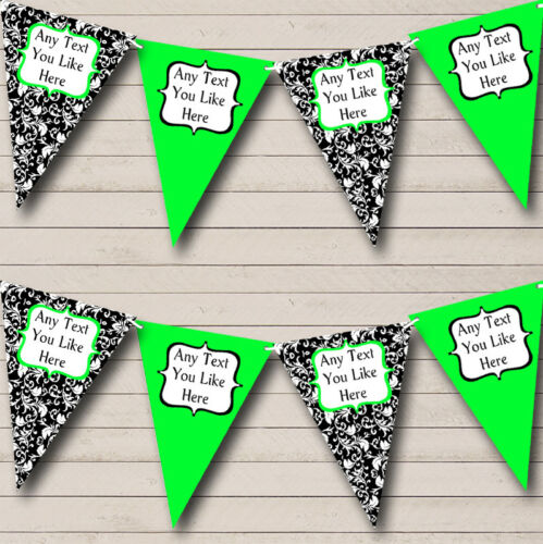 Party Banner Bunting Lime Green White Black Damask Personalised Engagement