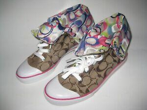 Coach-Women-039-s-Q1456-BONNEY-Monogram-Multicolor-Hi-Top-Sneakers-Shoes-Size-8