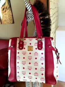 Details zu MCM Tasche Handbag Shopper Weiß Pink Magenta 100% Originalware NEU