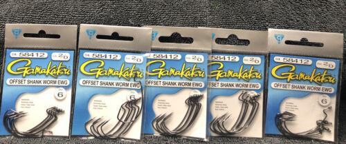 5packs Gamakatsu Size 2//0 Offset Shank Worm EWG 6//pack All New T42