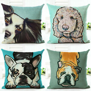 18/'/' Dog Animal Cotton Linen Pillow Case Cushion Cover Sofa Home Decor